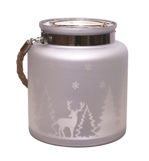 "8"" Silver Matte Winter Scene Christmas Pillar Candle holder Lantern - IMAGE 1"