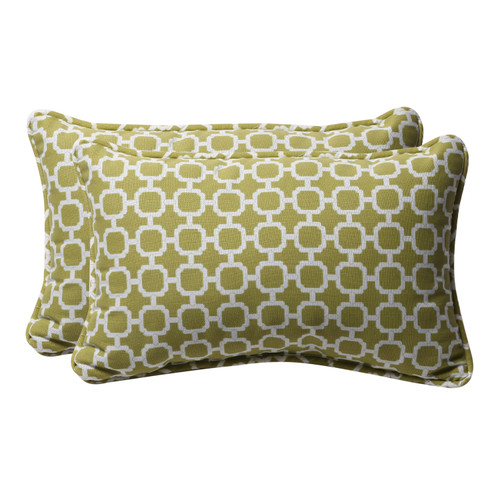 "Set of 2 Green and White Geometric Rectangular Outdoor Throw Pillows 18.5"" - IMAGE 1"