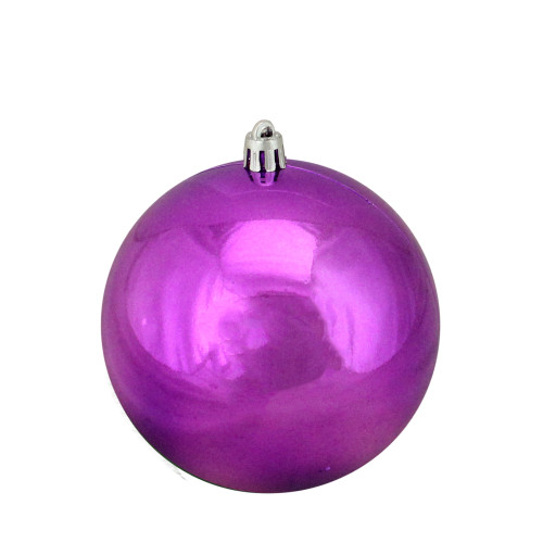 "Shiny Purple Shatterproof Christmas Ball Ornament 4"" (100mm) - IMAGE 1"