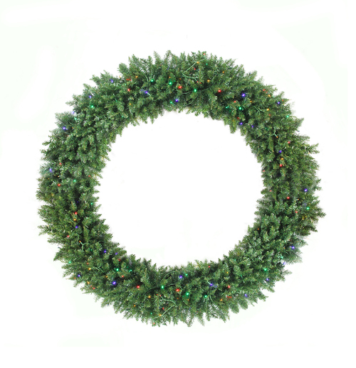 Pre-Lit Buffalo Fir Commercial Artificial Christmas Wreath - 72-Inch, Multicolor LED Lights - IMAGE 1