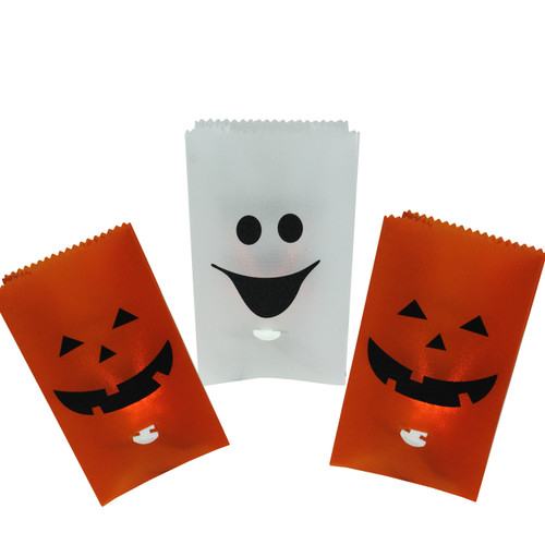 Set of 3 Flickering Light Pumpkin and Ghost Halloween Luminary Pathway Markers - IMAGE 1