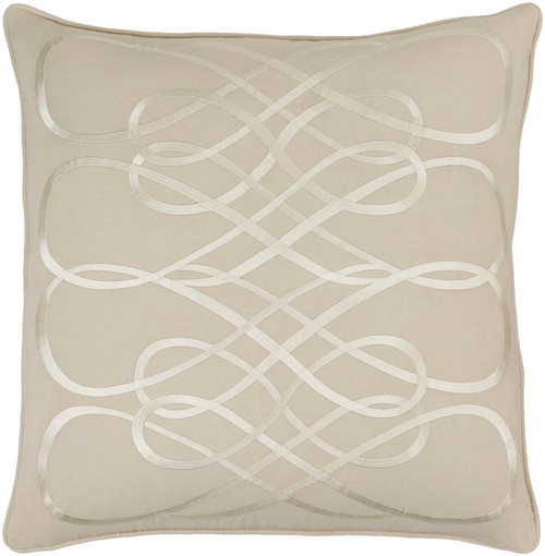 """22"""" Brown and White Contemporary Square Throw Pillow - Down Filler - IMAGE 1"""