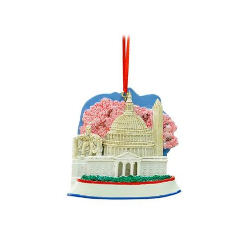 "3.25"" White and Pink Washington DC Monumental Scene Christmas Ornament - IMAGE 1"