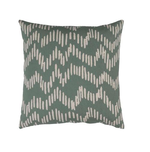 "22"" Broken Lines Sage Green and Khaki Brown Decorative Throw Pillow - Down Filler - IMAGE 1"
