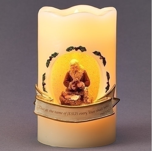 """5"""" Battery Operated LED Lighted Nativity Scene with Santa Pillar Candle - IMAGE 1"""