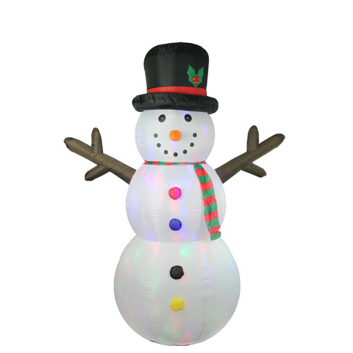 8' White Inflatable Lighted Snowman Christmas Outdoor Decor - IMAGE 1