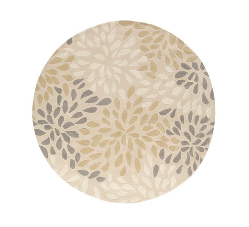 8' Contemporary Gray and Beige Hand Tufted Round Area Throw Rug - IMAGE 1