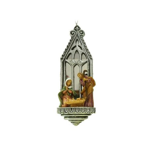 """6.25"""" Silver and Brown Fontanini Holy Family Mirrored Arch Christmas Nativity Ornament - IMAGE 1"""