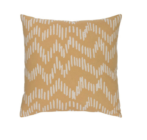 """22"""" Broken Lines Canary Yellow and Khaki Brown Decorative Throw Pillow - Down Filler - IMAGE 1"""