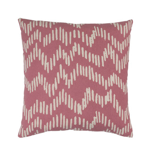 """22"""" Broken Lines Red Apple and Khaki Brown Decorative Throw Pillow - Down Filler - IMAGE 1"""