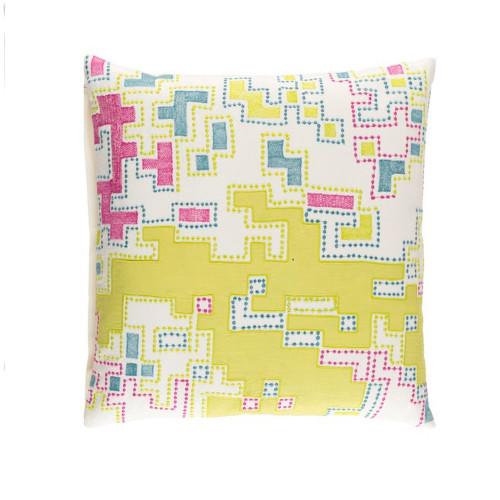 "22"" Lemon Yellow and Purple Splash Woven Decorative Throw Pillow - Down Filler - IMAGE 1"