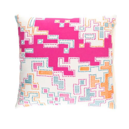 "20"" Purple and White Splash Woven Decorative Throw Pillow - IMAGE 1"