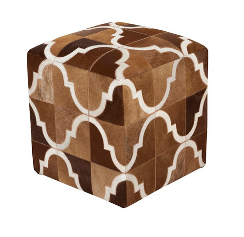 """18""""Henna Brown and Lace White Abstract Upholstered Foot Stool Ottoman - IMAGE 1"""