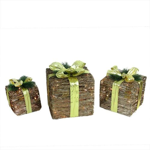 "Set of 3 Brown and Green Lighted Glitter Gift Boxes Christmas Decoration 12"" - IMAGE 1"