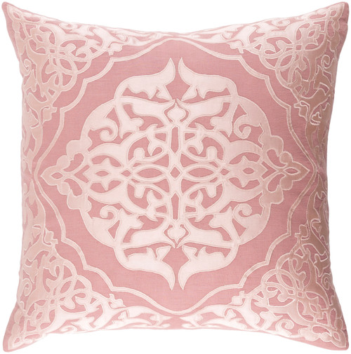 "22"" Rosewood Brown and Pastel Pink Woven Decorative Throw Pillow - IMAGE 1"