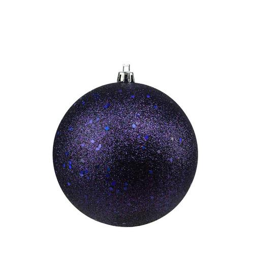 "Holographic Glitter Indigo Blue Shatterproof Christmas Ball Ornament 4"" (100mm) - IMAGE 1"