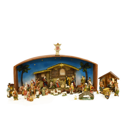 """52-Piece Brown Religious Christmas Nativity Village Set with Holy Family 31.5"""" - IMAGE 1"""