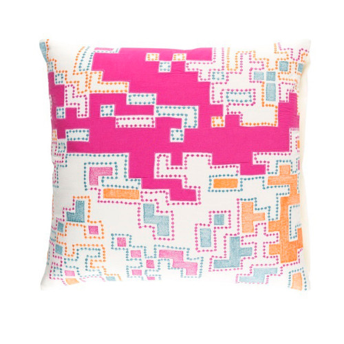 "22"" Purple and White Splash Woven Decorative Throw Pillow - Down Filler - IMAGE 1"
