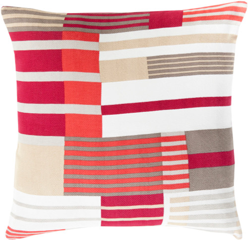 """18"""" Red and Beige Contemporary Square Throw Pillow - IMAGE 1"""