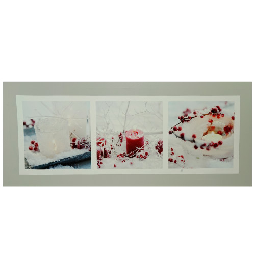 """LED Winter Frost and Berry Burst Christmas Canvas Wall Art 11.75"""" x 27.5"""" - IMAGE 1"""