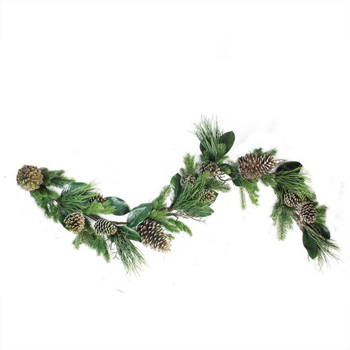 """6' x 7"""" Monalisa Mixed Pine with Large Pine Cones and Foliage Christmas Garland - Unlit - IMAGE 1"""