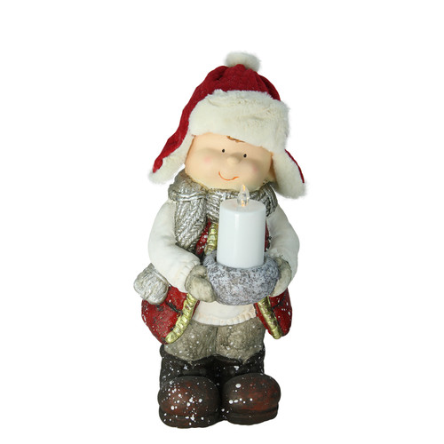 "17"" Red and White Standing Young Boy in Winter Ski Hat Holding Candle Christmas Figurine - IMAGE 1"