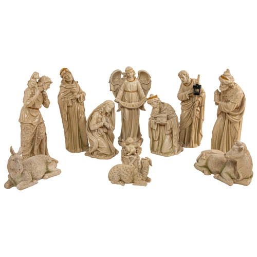"""11-Piece Speckled Brown Traditional Religious Christmas Nativity Set 22.75"""" - IMAGE 1"""