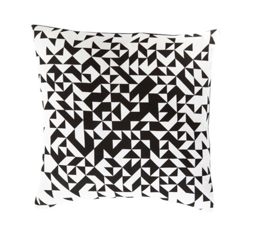 "22"" Black and White Decorative Throw Pillow - Down Filler - IMAGE 1"