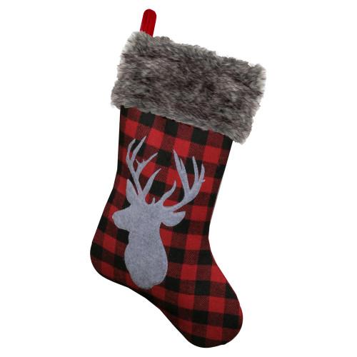 "20.5"" Red and Black Buffalo Plaid Reindeer Christmas Stocking - IMAGE 1"