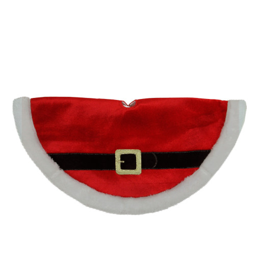 """20"""" Traditional Red and White Santa Claus Belt Buckle Mini Christmas Tree Skirt - IMAGE 1"""
