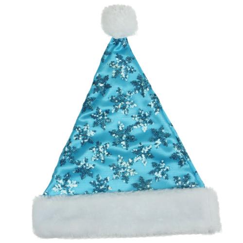 Blue and White Sequin Snowflake Unisex Adult Christmas Santa Hat Costume Accessory - Medium - IMAGE 1