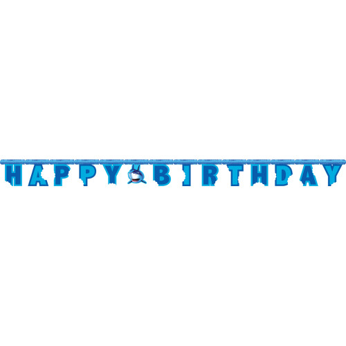 "Club Pack of 12 Blue Shark Splash Happy Birthday Party Banners 7.25"" - IMAGE 1"