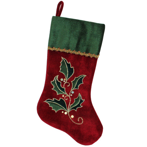 """21"""" Red and Green Holly Embroidered Velvet Christmas Stocking - IMAGE 1"""