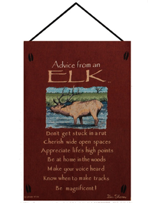 """Wine Red and Blue """"Advice from an Elk"""" Wall Art Hanging Tapestry 26"""" x 16"""" - IMAGE 1"""