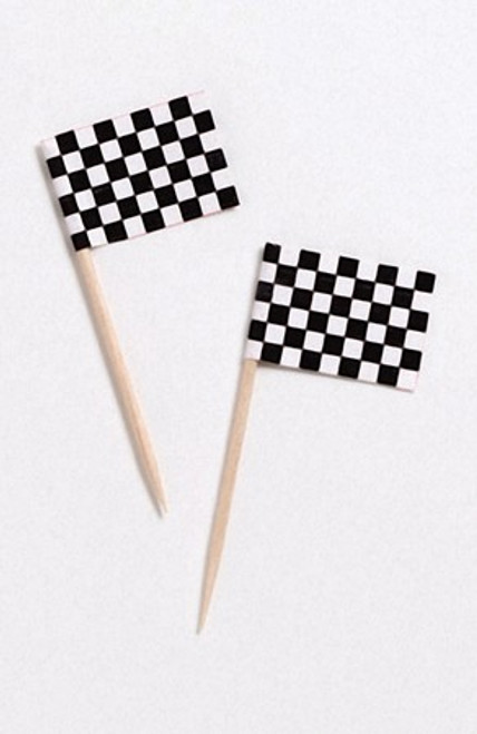 """Club Pack of 1200 Black and White Checkered Flag Food or Decorative Party Picks 2.5"""" - IMAGE 1"""