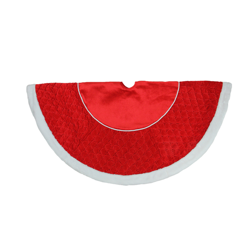 """48"""" Red and White Quilted Faux Fur Border Christmas Tree Skirt - IMAGE 1"""