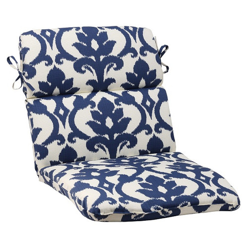 """40.5"""" Navy Floral Victorian Outdoor Patio Rounded Chair Cushion with Ties - IMAGE 1"""
