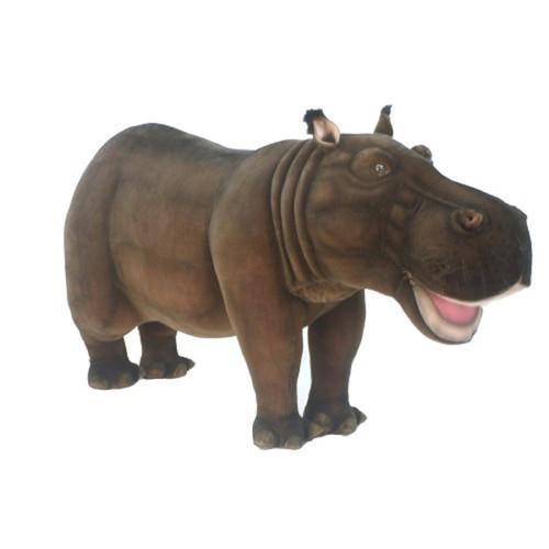 """67"""" Brown Handcrafted Ride-On Hippo Stuffed Animal - IMAGE 1"""