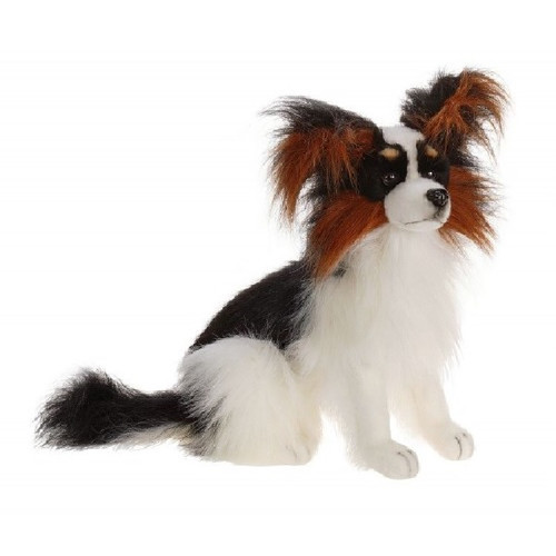 "Set of 2 Handcrafted Plush Black Pappillon Dog Stuffed Animals 16.5"" - IMAGE 1"