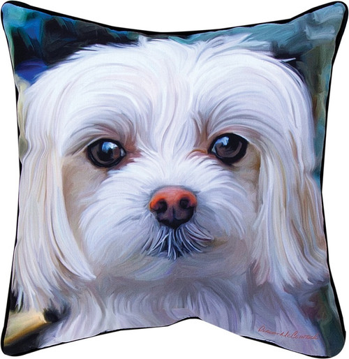 """18"""" White and Blue Malty Maltese Outdoor Patio Square Throw Pillow - IMAGE 1"""