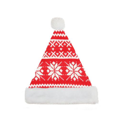 Red and White Snowflake Santa Hat Unisex Adult Christmas Costume Accessory - Medium - IMAGE 1