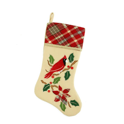 """20.5"""" Ivory and Red Cardinal Bird Embroidered Christmas Stocking - IMAGE 1"""
