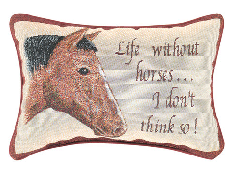 "12.5"" White and Brown ""Life Without Horses"" Rectangular Throw Pillow - IMAGE 1"
