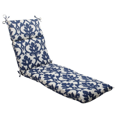 "72.5"" Navy Victorian Floral Outdoor Patio Chaise Lounge Cushion with Ties - IMAGE 1"