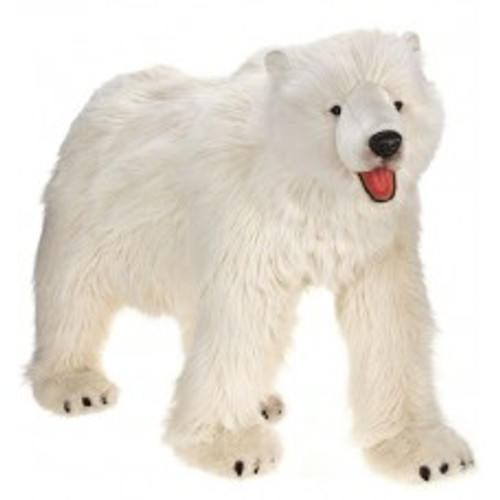 """52.25"""" White and Red Handcrafted Extra Soft Plush Polar Bear Stuffed Animal - IMAGE 1"""