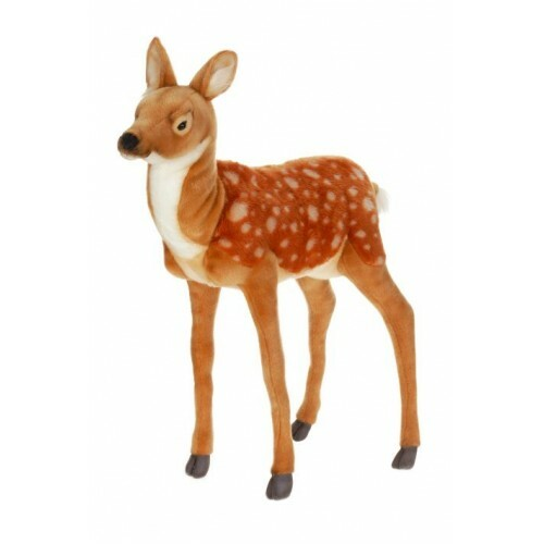 """31.5"""" Brown and White Handcrafted Plush Large Standing Deer Fawn Stuffed Animal - IMAGE 1"""