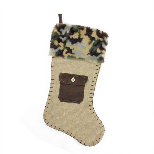 """20.5"""" Green and Brown Pocket Christmas Stocking with Camouflage Cuff - IMAGE 1"""