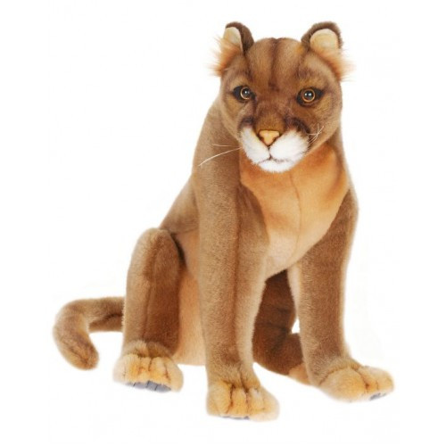 """Set of 2 Brown Handcrafted Mountain Lion Cougar Stuffed Animals 10.25"""" - IMAGE 1"""