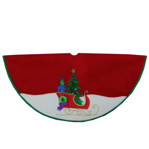 "20"" Red and White Loaded Sleigh in the Snow Mini Christmas Tree Skirt - IMAGE 1"