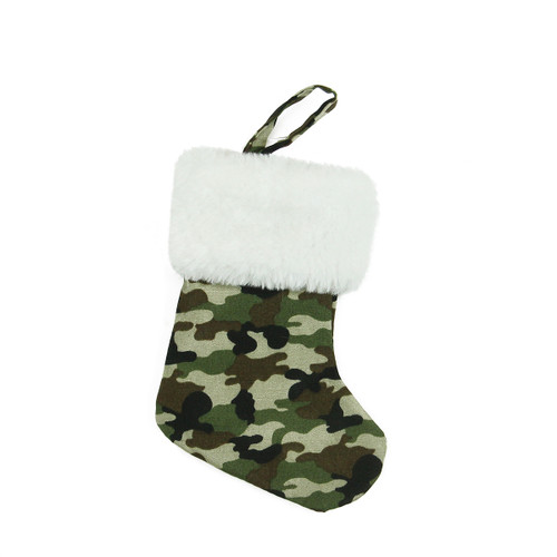 """7"""" Army Camouflage Mini Christmas Stocking with White Cuff - IMAGE 1"""